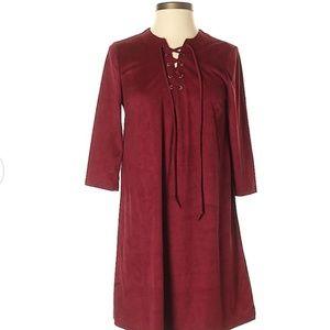 Burgundy midi shift dress